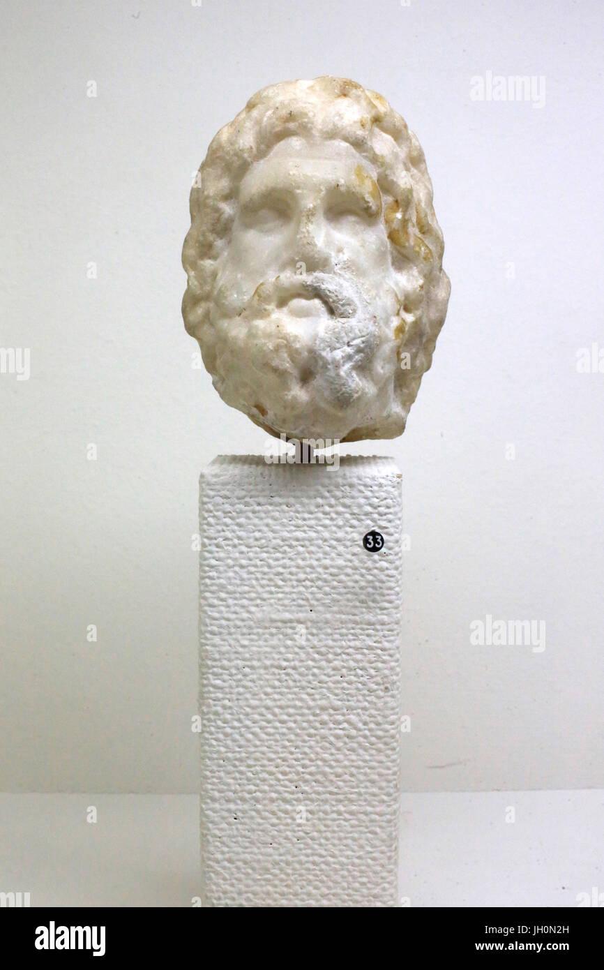 Jupiter. Bronze statuette. Museum of Gallo-Roman civilization Fourvire. Lyon. France. - Stock Image