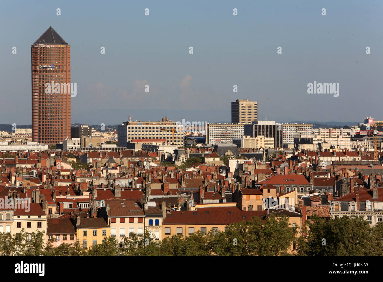 Hotel Radisson. Panoramic view from Viewpoint of Notre Dame de Fourviere hill.   France. - Stock Image