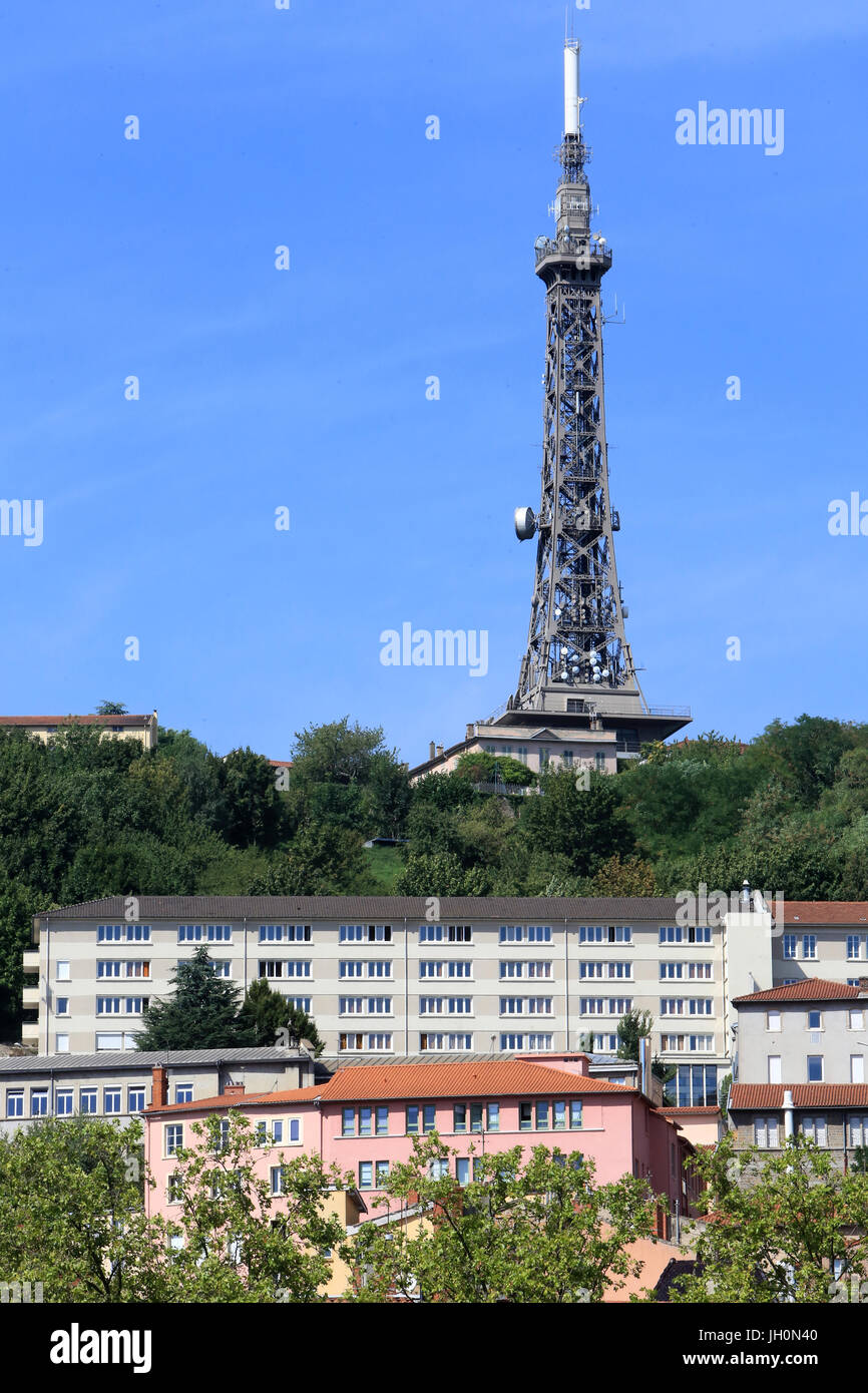 Metal tower transmitter 85.9 mm. 1892 - 1894. Fourvire. Lyon. France. Stock Photo