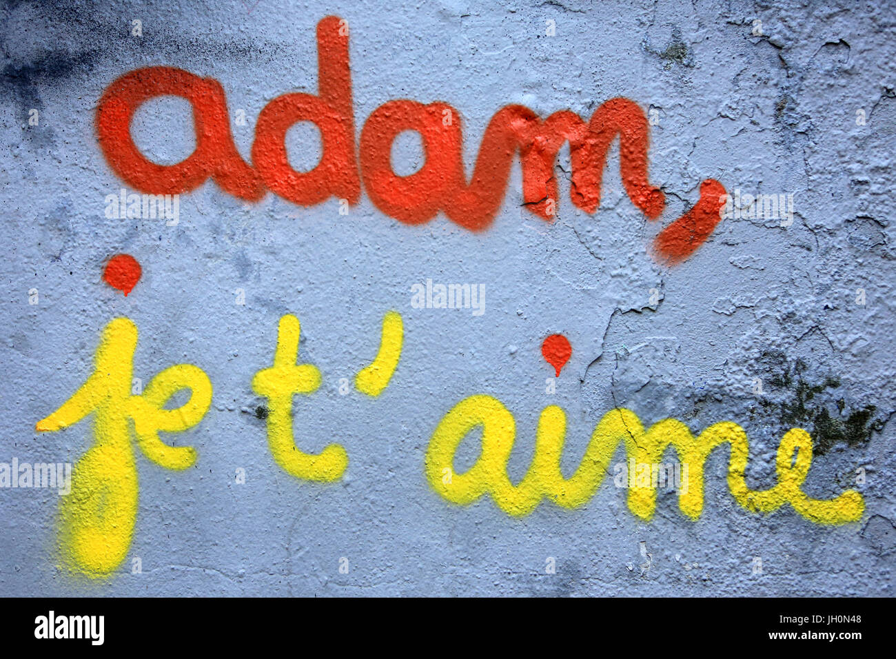 Adam, I love you.Tag.  France. - Stock Image