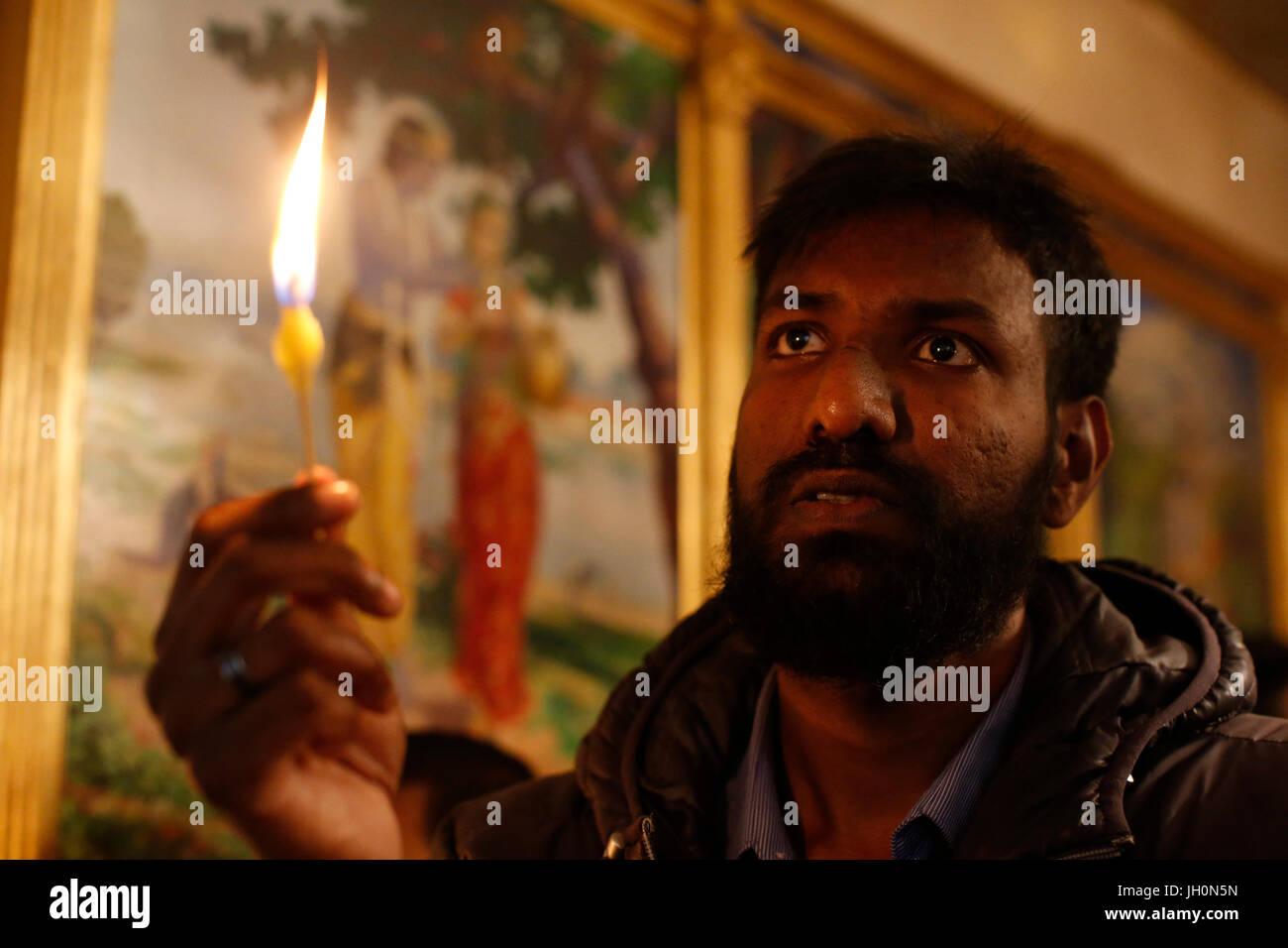 ISKCON devotee celebrating Diwali festival. France. Stock Photo