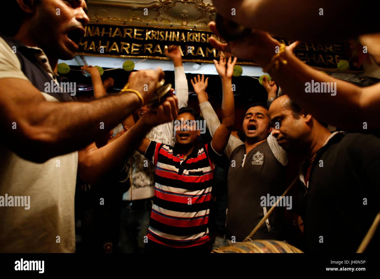ISKCON devotees celebrating Diwali festival. France. Stock Photo