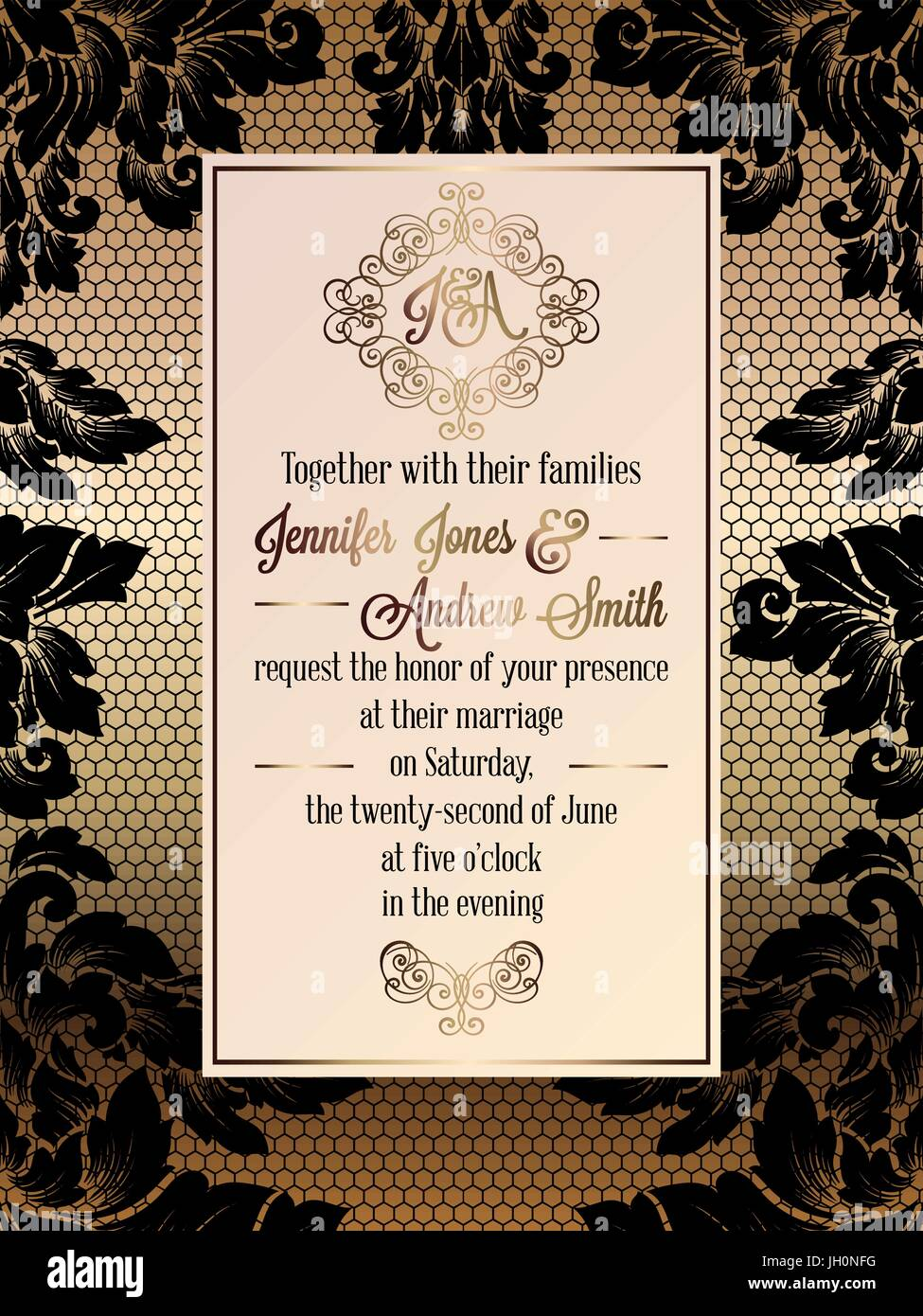 Vintage baroque style wedding invitation card template elegant vintage baroque style wedding invitation card template elegant formal design with damask background traditional decoration for wedding gold and bl stopboris Choice Image