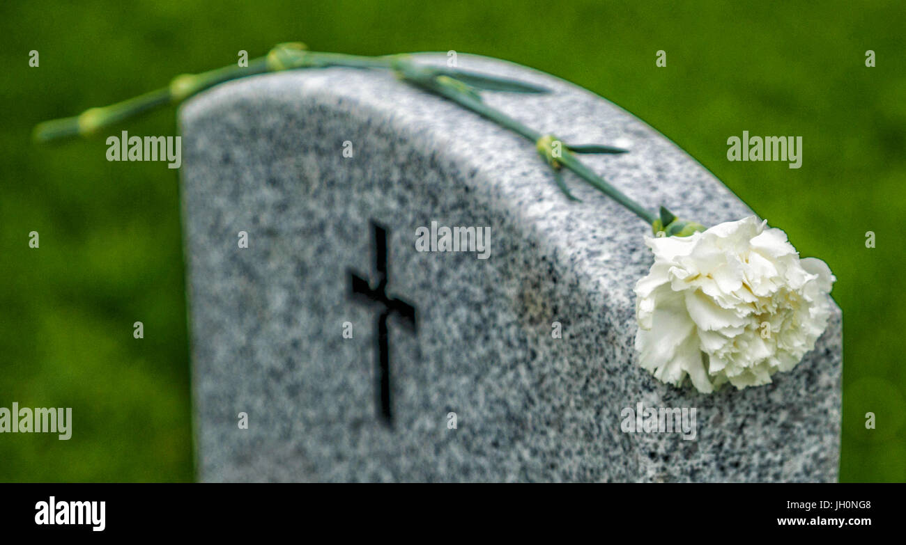 American flag and Blue Rose on a veterans tombstone at an American National Cemetery. Stock Photo