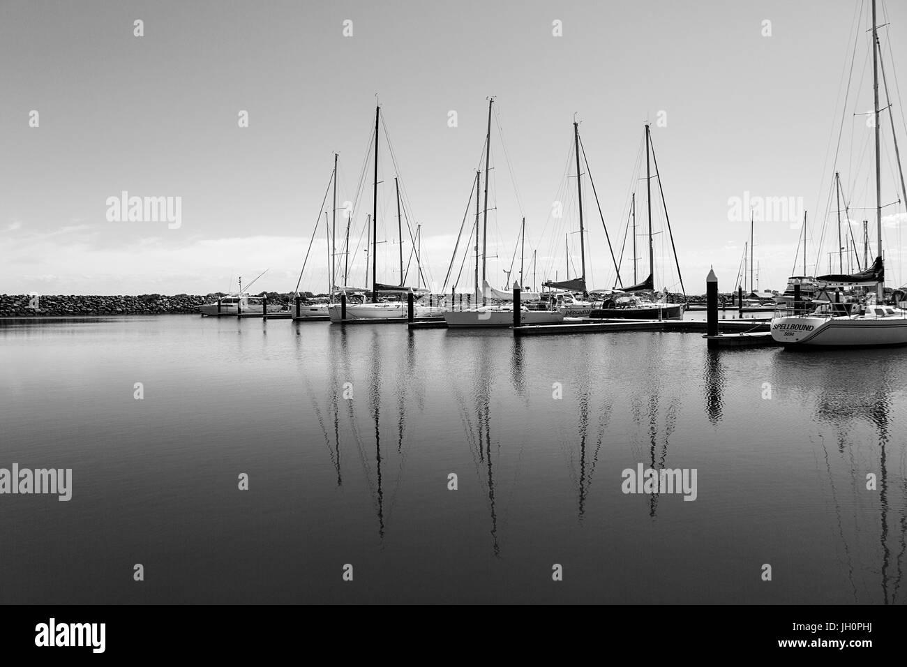Sail Boats moored at St Kilda Marina - Stock Image