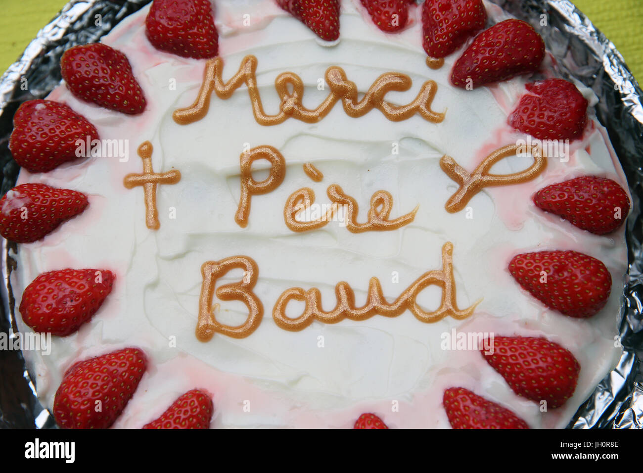 Home made cake. Thank you father Baud.  France. - Stock Image