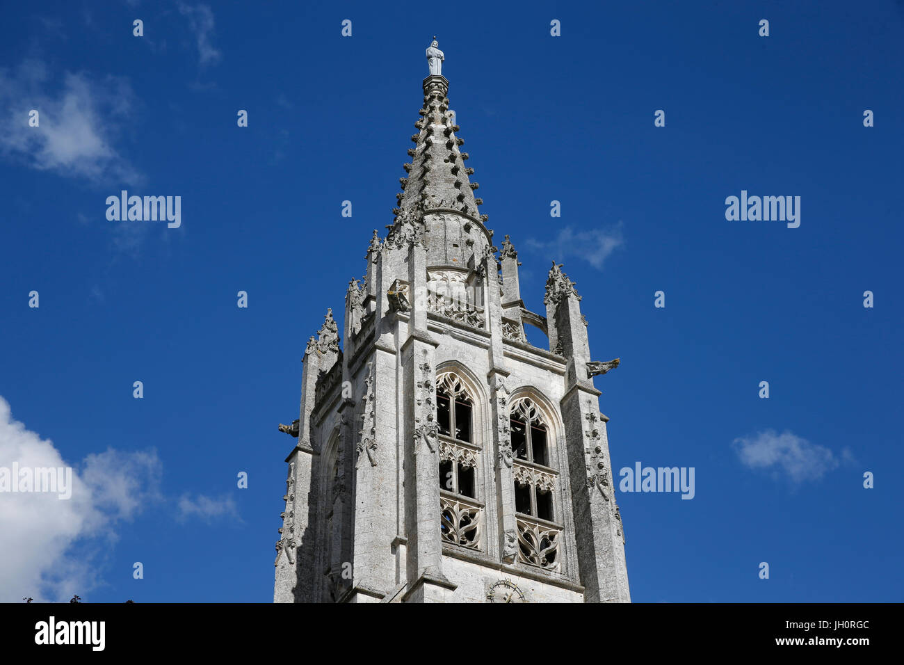 St Peter's church spire, Beaumontel. France. - Stock Image