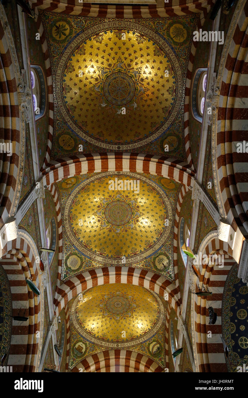 Notre-Dame de la Garde basilica, Marseille. Cupolas. France. - Stock Image
