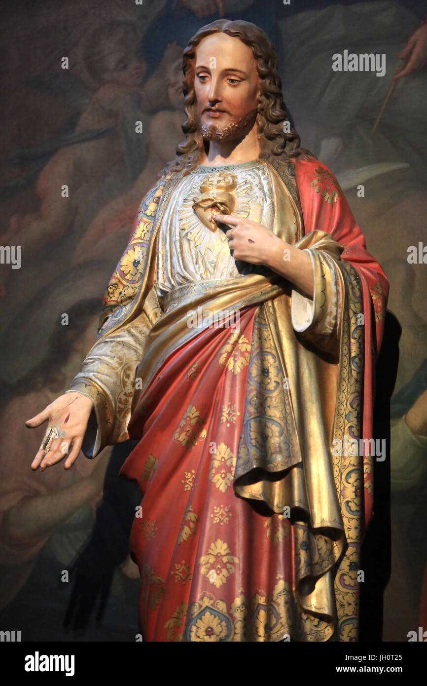 Jesus Christ. Sacred Heart. Statue. Moulins Cathedral Basilica. - Stock Image