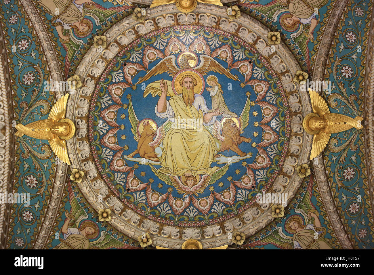 Christ in Majesty and Tetramorph. Basilica of Notre-Dame de Fourvire. Lyon. Stock Photo