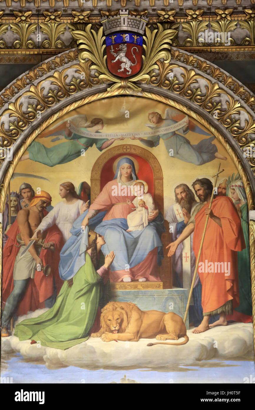 Table Orsel Victor (1795-1850). Lyon saved from cholera. Virgin Mary and Santa Blandina. Crypt. Basilica of Notre - Stock Image