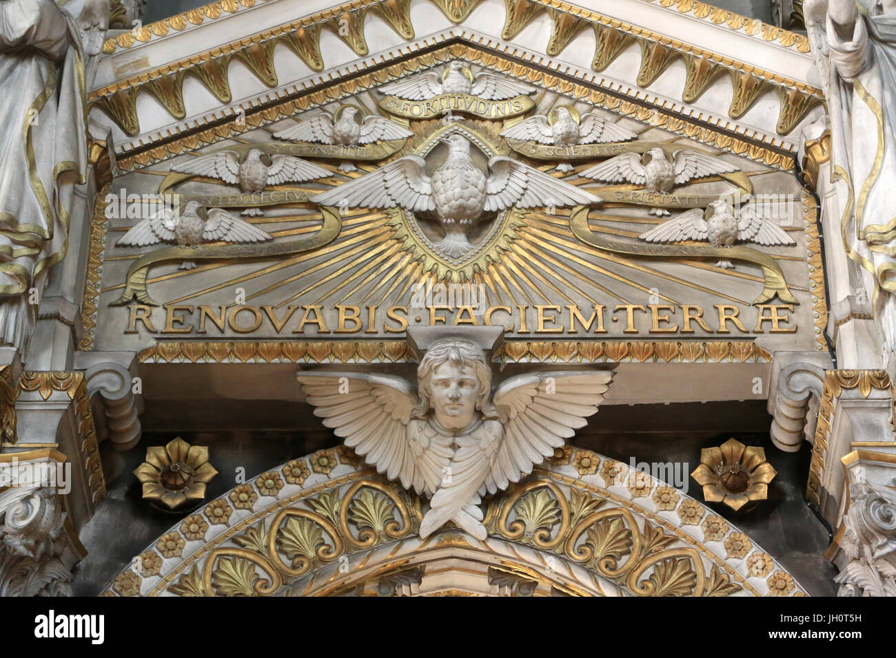 Renovabis faciem terrae - The face of the earth will be renewed. St Matthew.  Basilica of Notre-Dame de Fourvire. - Stock Image