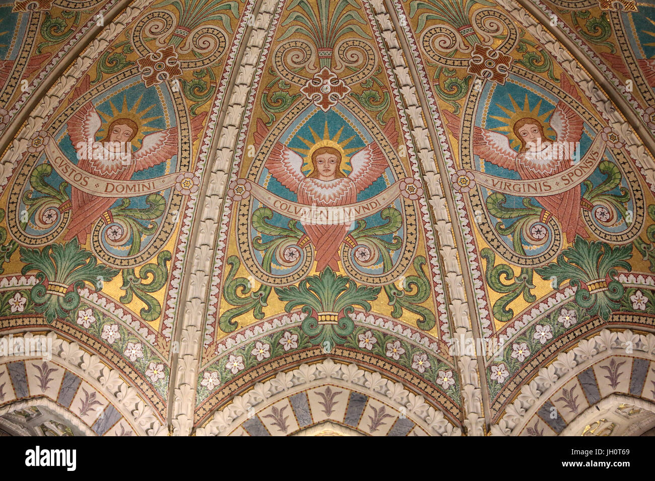 The vault of the choir decorated with mosaics representing the Beatitudes. Crypt. Chapel of St. Joseph. Basilica Stock Photo