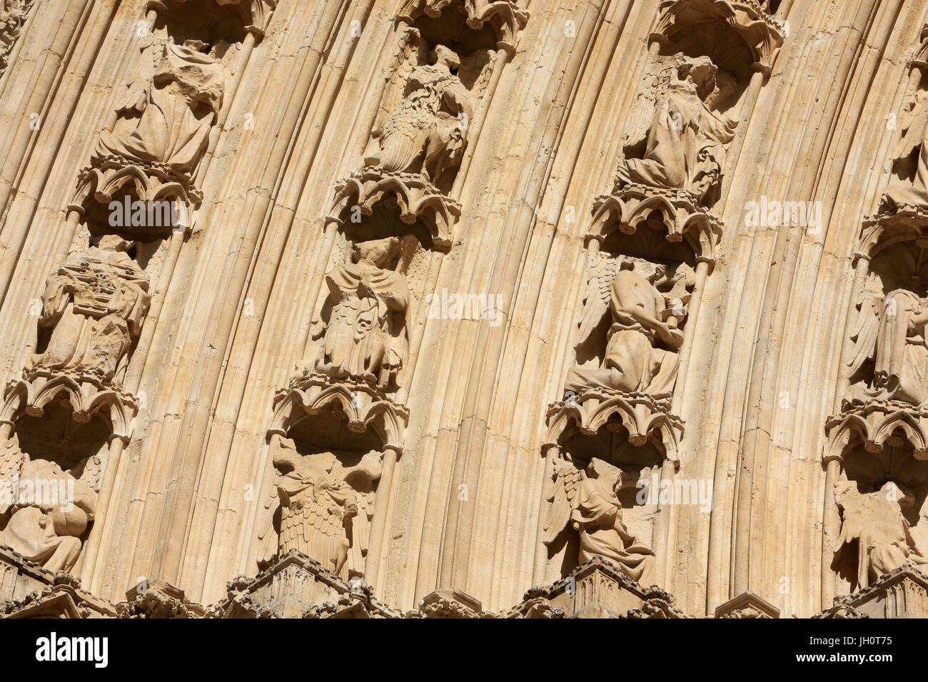 Sculptures. West facade. Lyon Cathedral. France. - Stock Image
