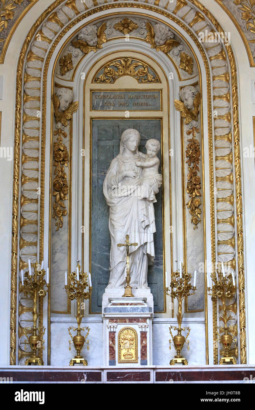 Virgin of the Carthusians, by Joseph-Hugues Fabisch, official sculptor to the Diocese of Lyon St. Virgin's chapel. Stock Photo