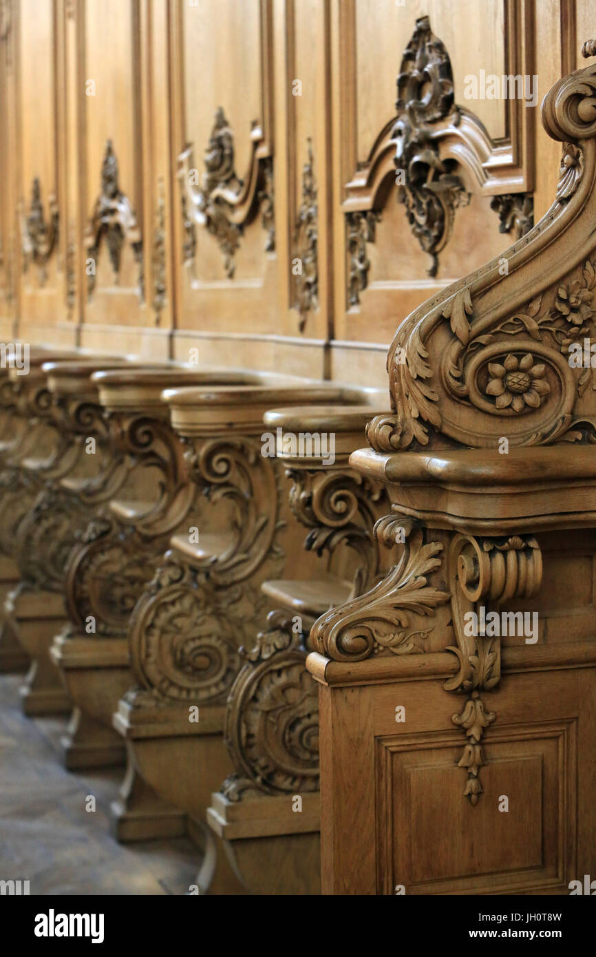 Stalls and woodwork of the choir. St. Bruno les Chartreux's church. Lyon. France. - Stock Image