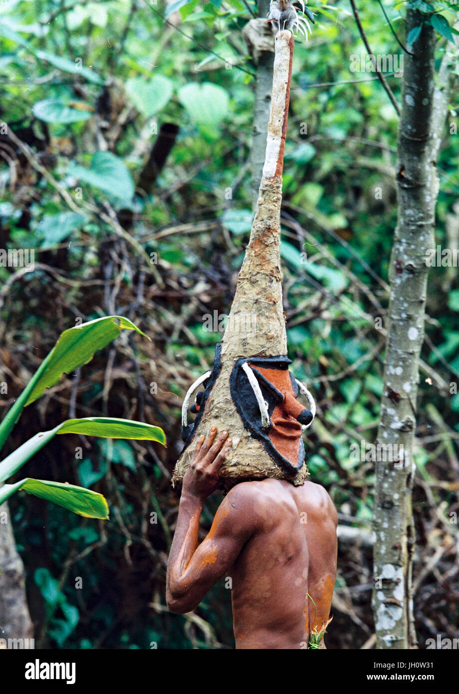 Tribesman dancing in the jungle with a helmet mask for a circumcision ceremony, Malampa Province, Malekula Island, - Stock Image