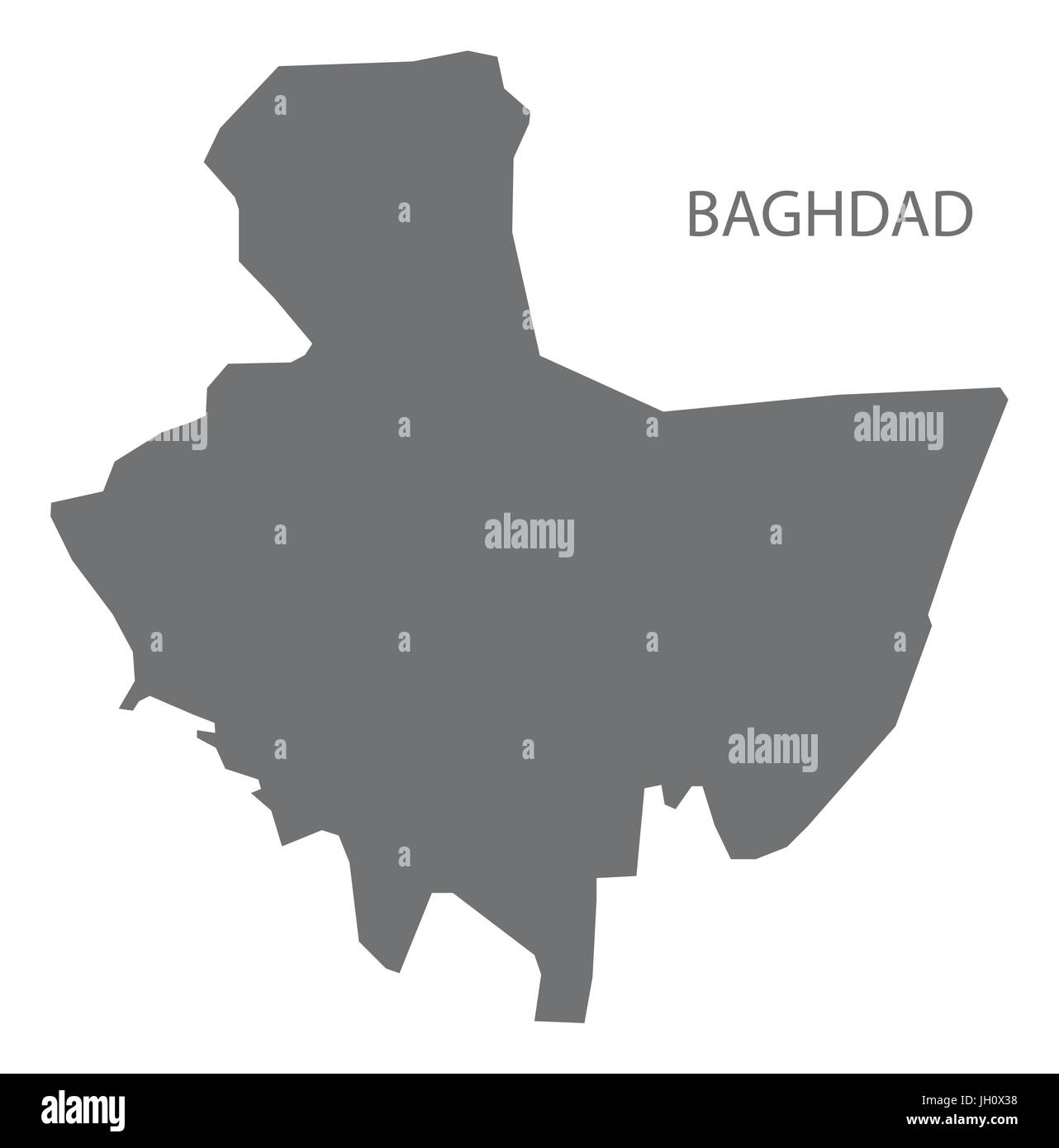 Baghdad Iraq map grey illustration silhouette Stock Vector Art ...