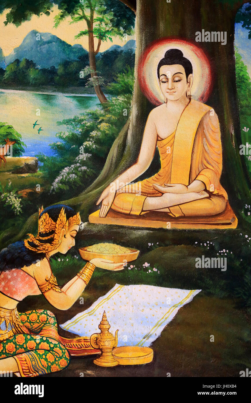 Ascetic Buddha was offered a bowl of milk-rice meal  on the morning of his Enlightenment by Nandabala. Painting - Stock Image