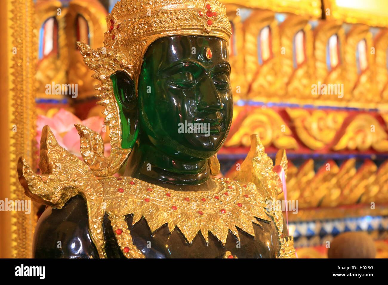 Emerald Buddha statue. Vat Ong Teu. Wat Ong Teu Mahawihan. Vientiane. Laos. - Stock Image