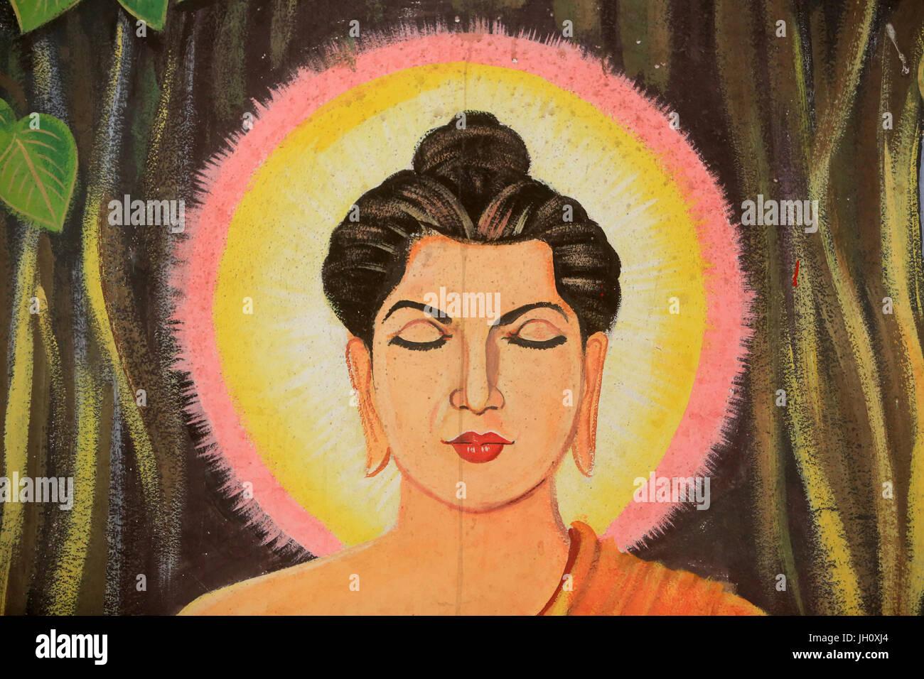 Painting depicting the life story of Shakyamuni Buddha. Wat Naxai. Vientiane. Laos./ Naxai. Vientiane. Laos. - Stock Image