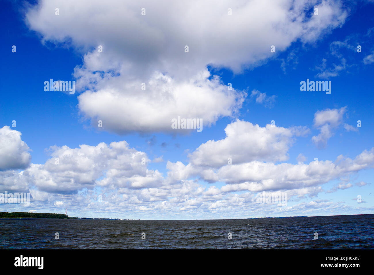 Dramatic cloudscape with anvil cloud. Photographed in Saint Petersburg, Russia - Stock Image