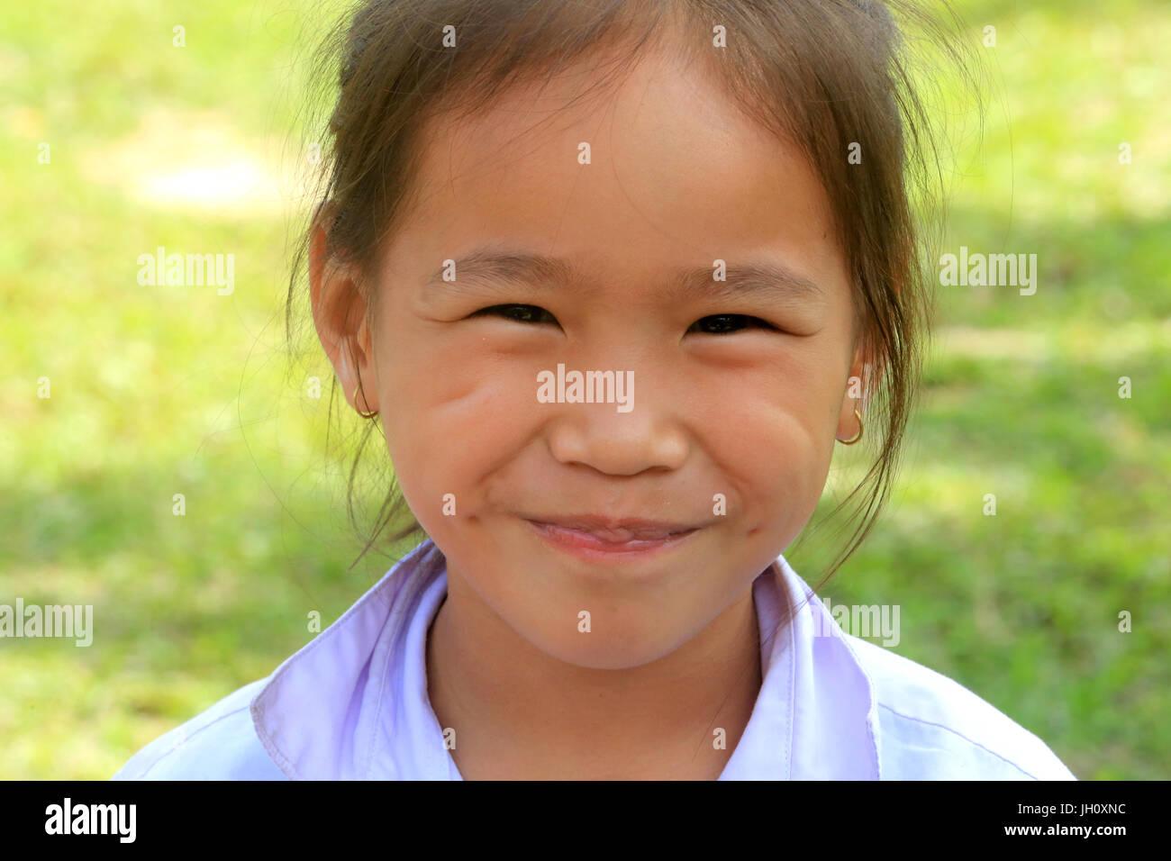 Laotian schoolgirl. Portrait.  Laos. - Stock Image