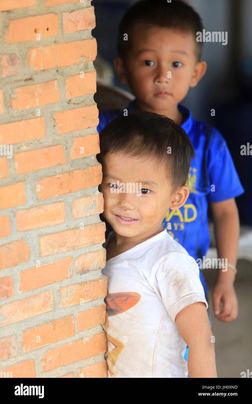 Laotian schoolboy.  Laos. - Stock Image
