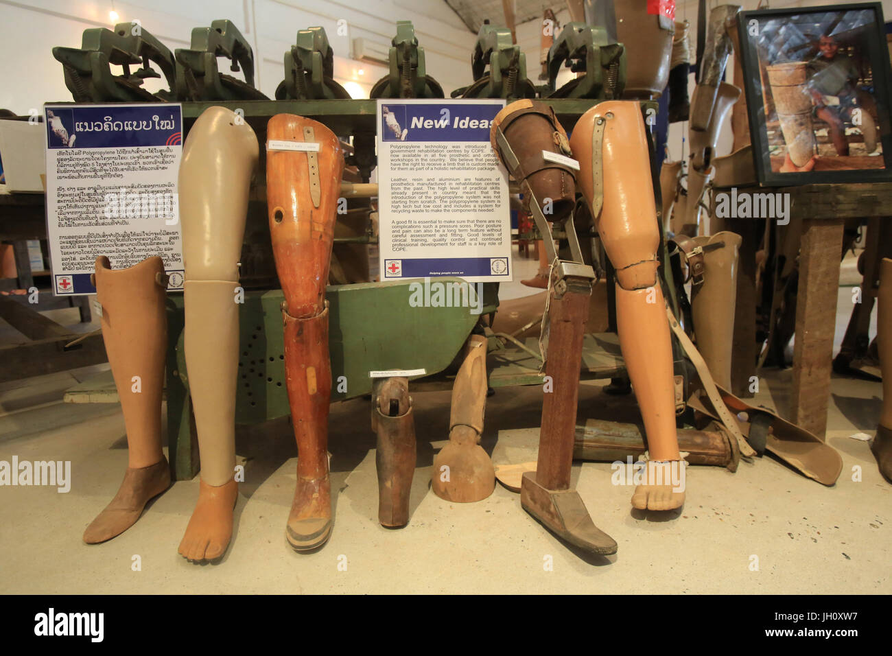 Cooperative Orthotic and Prosthetic Enterprise. Center COPE. OGN. For victims of mines and cluster munition. Vientiane. - Stock Image
