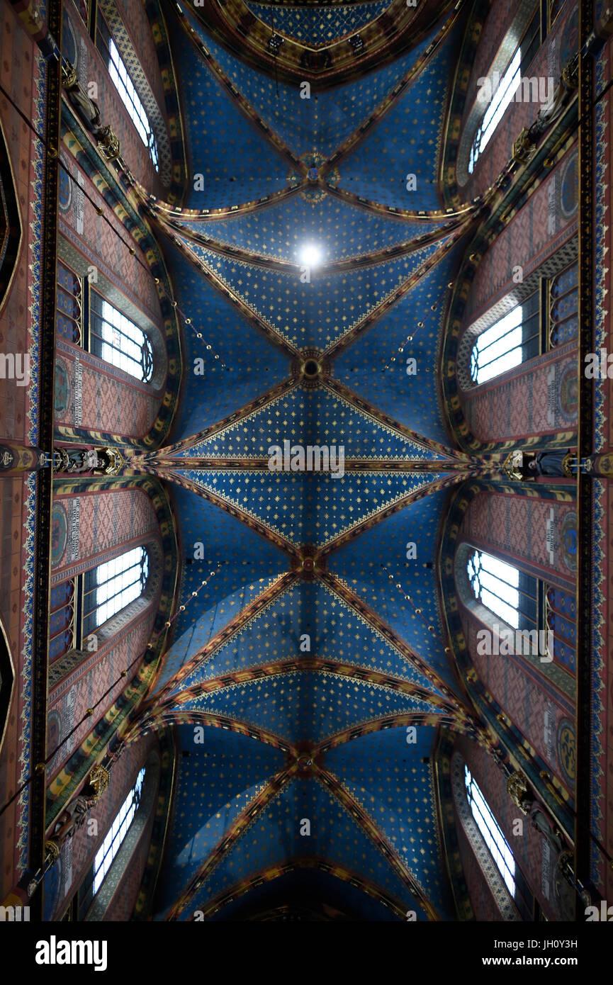 Krakow church ceiling. Poland. Stock Photo
