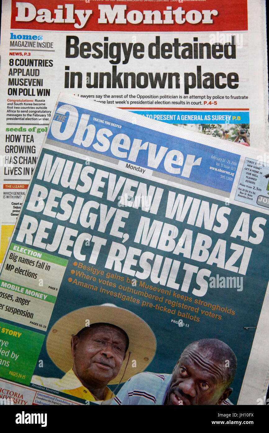 Ugandan newspapers after the 2016 presidential election. Uganda. - Stock Image