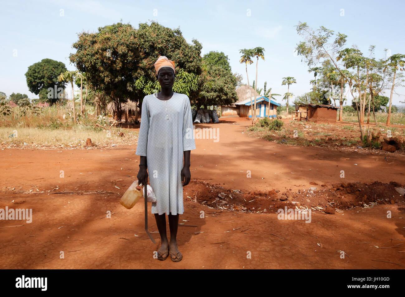 Kiryangondo refugee camp. Sudanese refugee. Uganda. - Stock Image