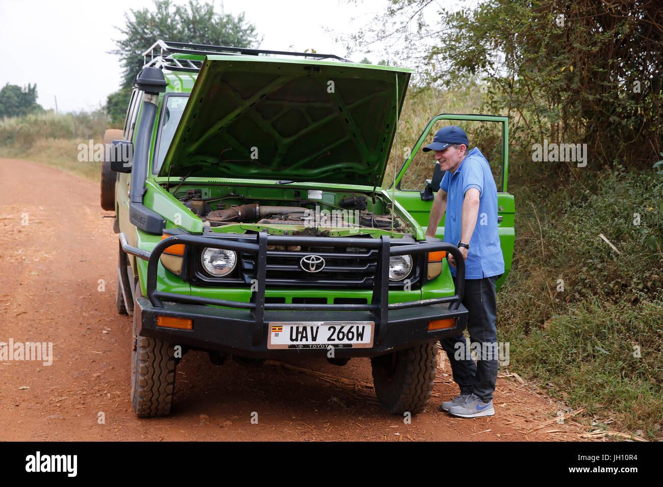 Car breakdown in Uganda. Uganda. - Stock Image
