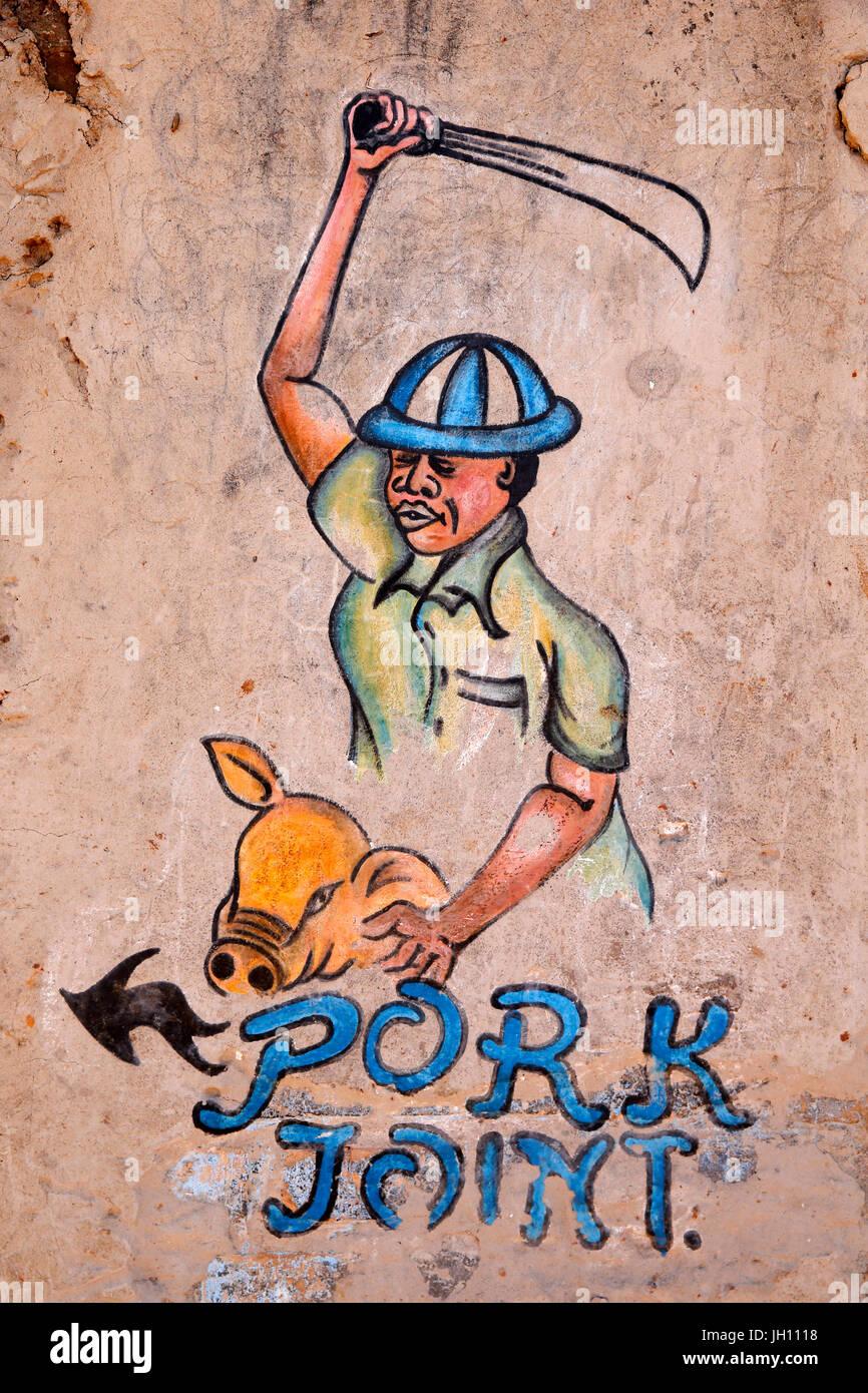 Pork joint (restaurant) sign. Uganda. - Stock Image