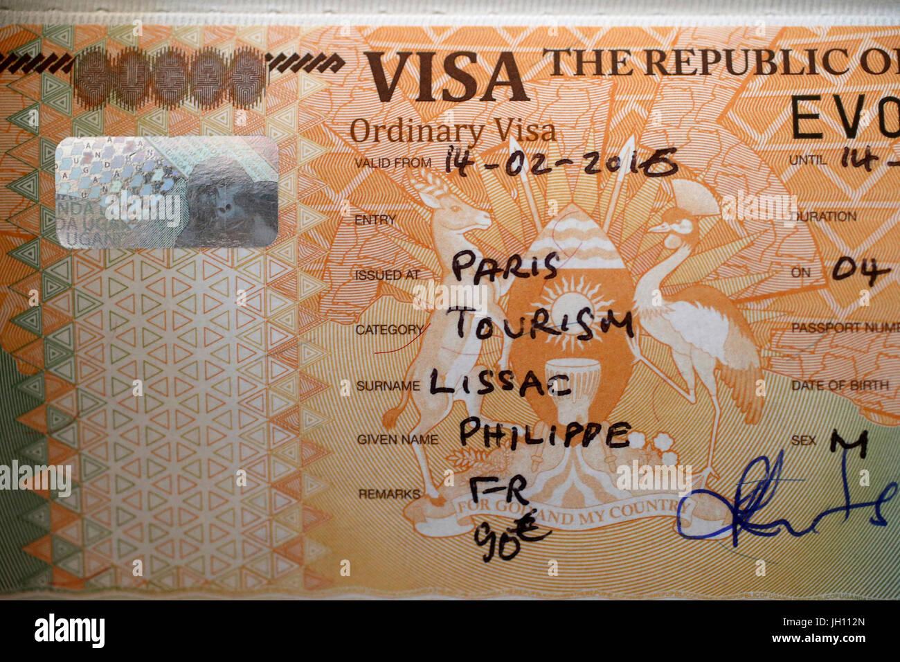 Uganda visa. Uganda. - Stock Image