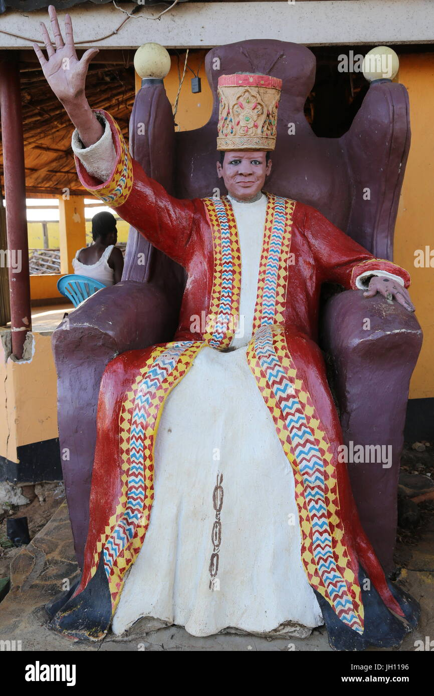 Statue of African leader at a beach resort in Entebbe. Haile Selassie (Ethiopia). Uganda. - Stock Image
