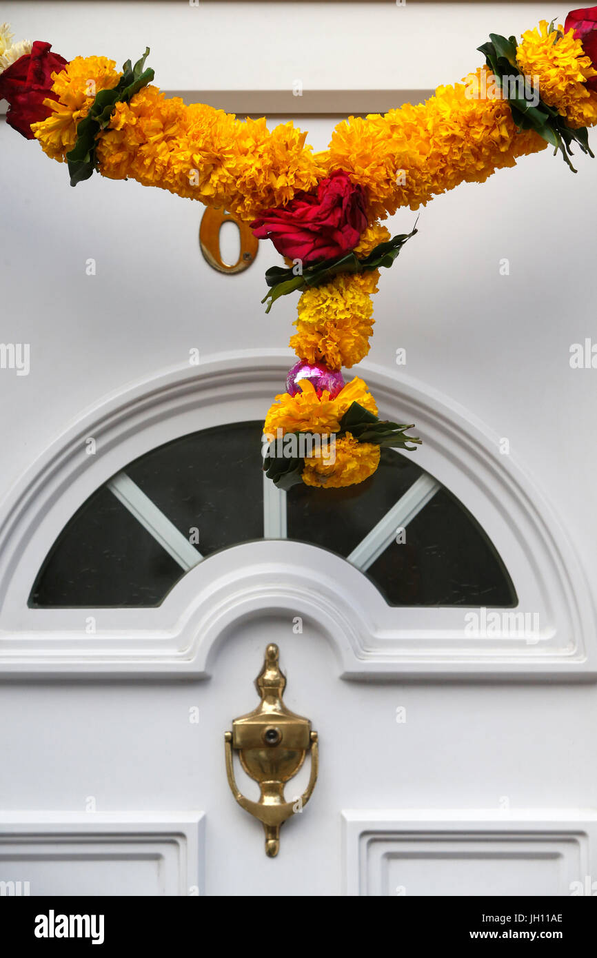 Hindu garland on a house door in Leicester, U.K. United kingdom. - Stock Image