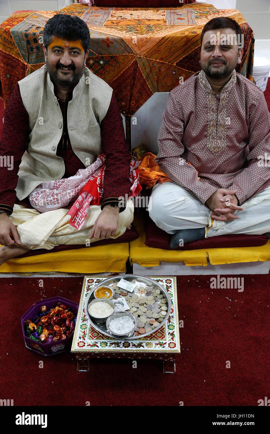 Shree Ram Mandir, Leicester. Priests and donations. United kingdom. - Stock Image