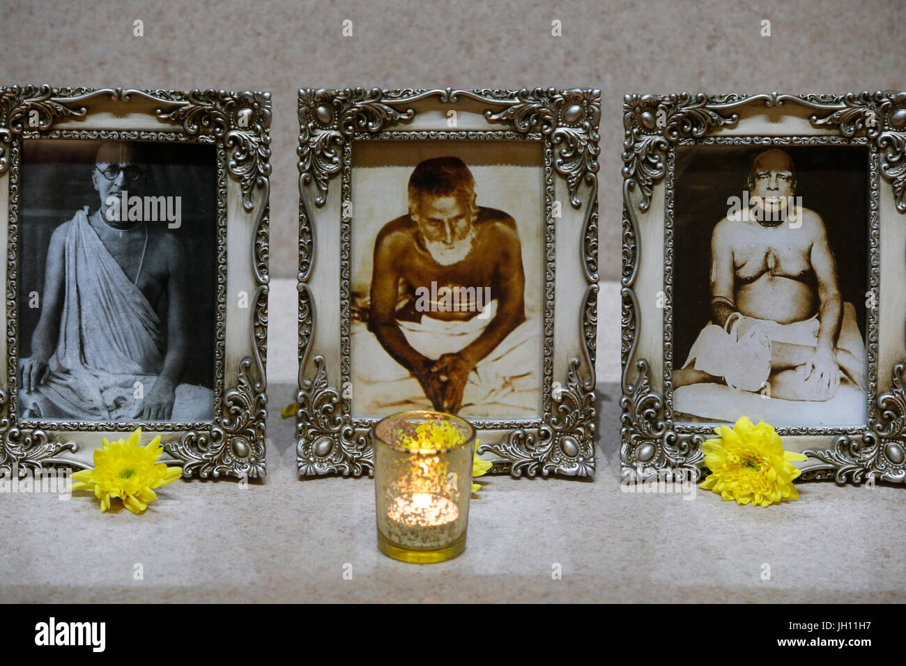 ISKCON Leicester. Photographs of gurus. United kingdom. Stock Photo