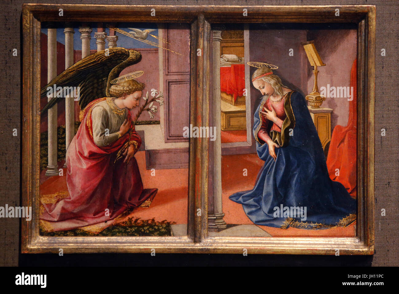 The Courtauld Gallery. Francesco Pesellino. The Annunciation. Around 1450-55. Tempera on panel. United kingdom. - Stock Image