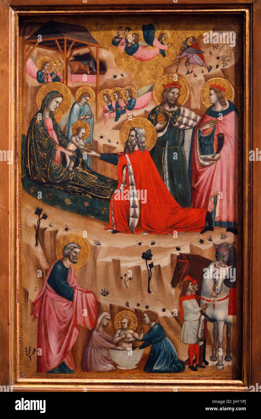 The Courtauld Gallery.Giovanni Baronzio. The Nativity and the adoration of the Magi. Around 1326. Tempera on panel. - Stock Image