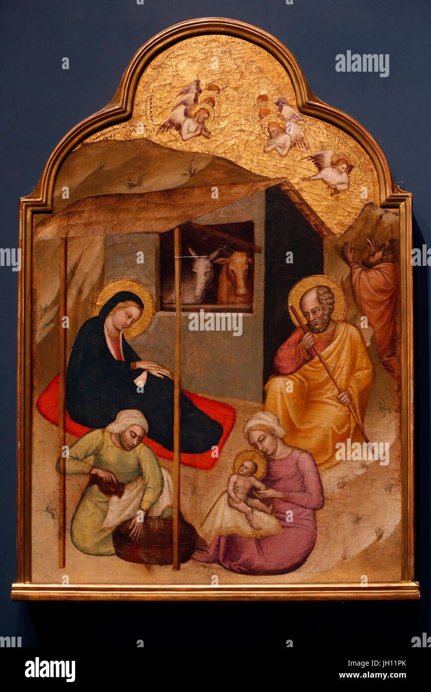 The Courtauld Gallery. Spinello Aretino. The Nativity. Around 1400. Tempera on panel. United kingdom. - Stock Image