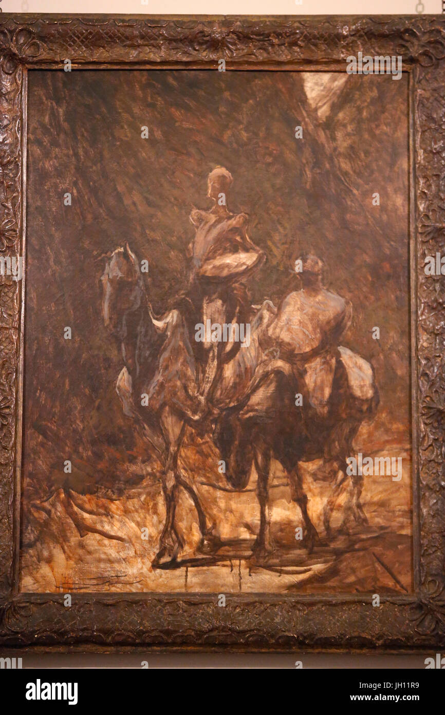The Courtauld Gallery. HonorŽ Daumier. Don Quixote and Sancho Panza. Around 1870. Oil on canvas. United kingdom. - Stock Image