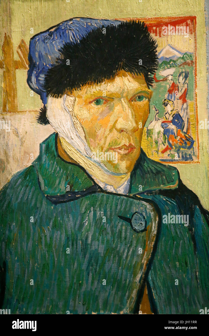 The Courtauld Gallery. Vincent Van Gogh. Self-portrait with a bandaged ear. 1889. Oil on canvas. United kingdom. - Stock Image