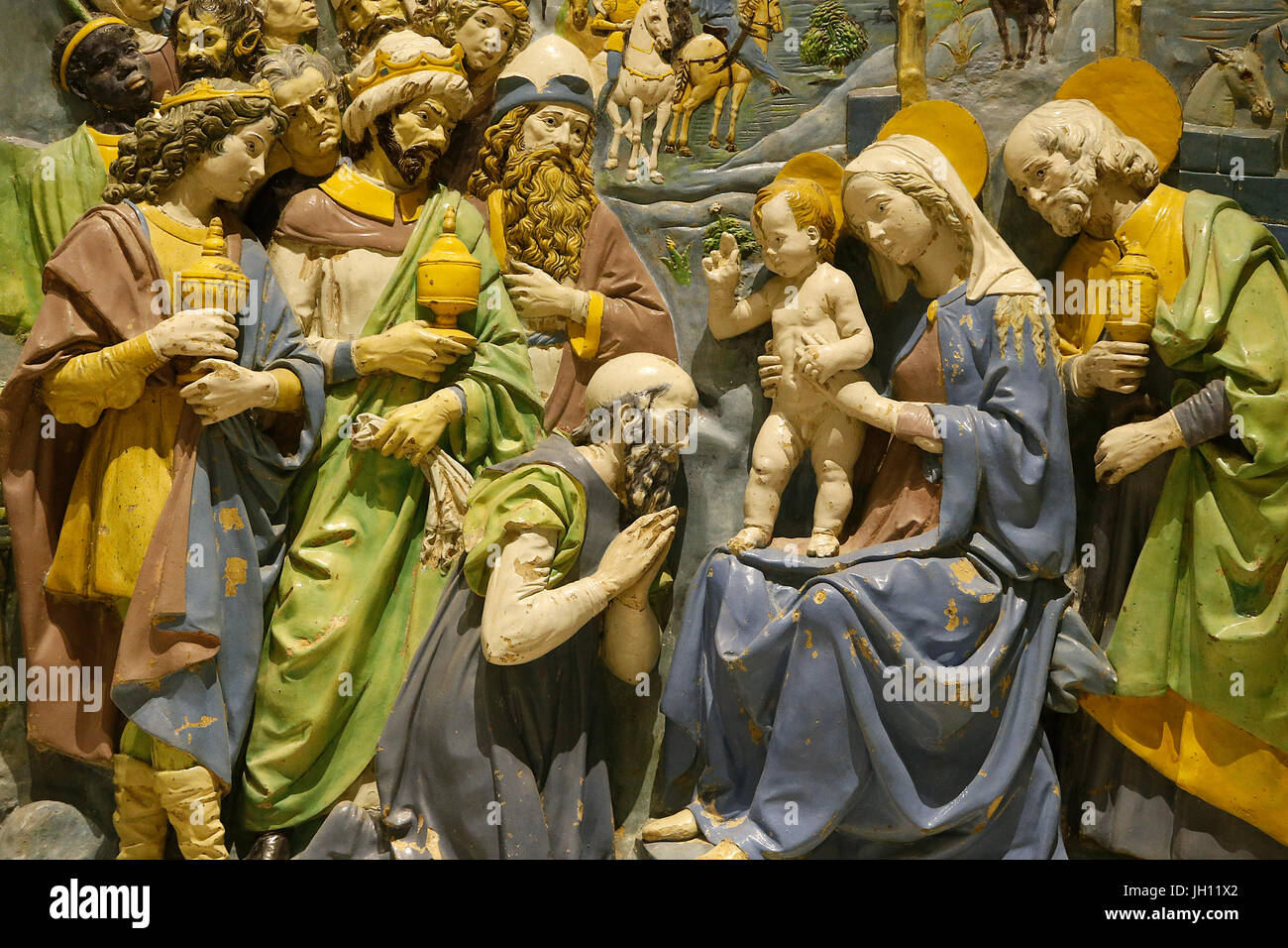 The Victoria and Albert Museum. The Adoration of the Kings. About 1500-10. Andrea della Robbia. Italy, Florence. - Stock Image