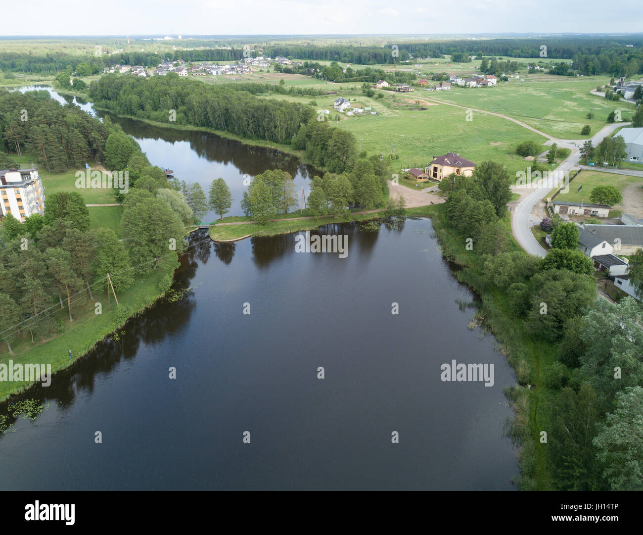 evening dusk sunset Aerial view of countryside, drone top view - Stock Image