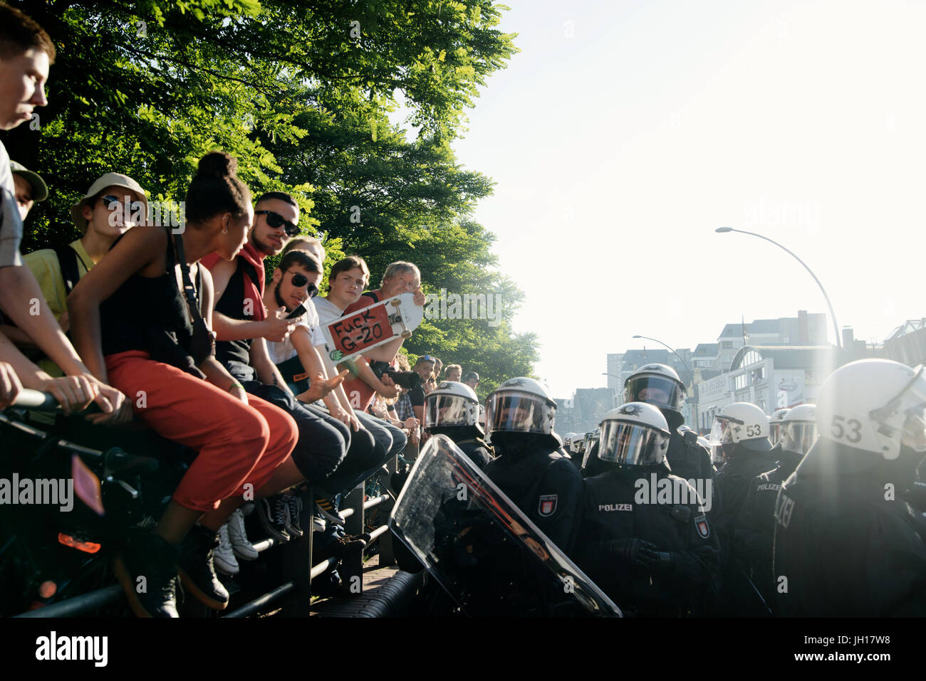 Black block, G20 Hamburg - Stock Image