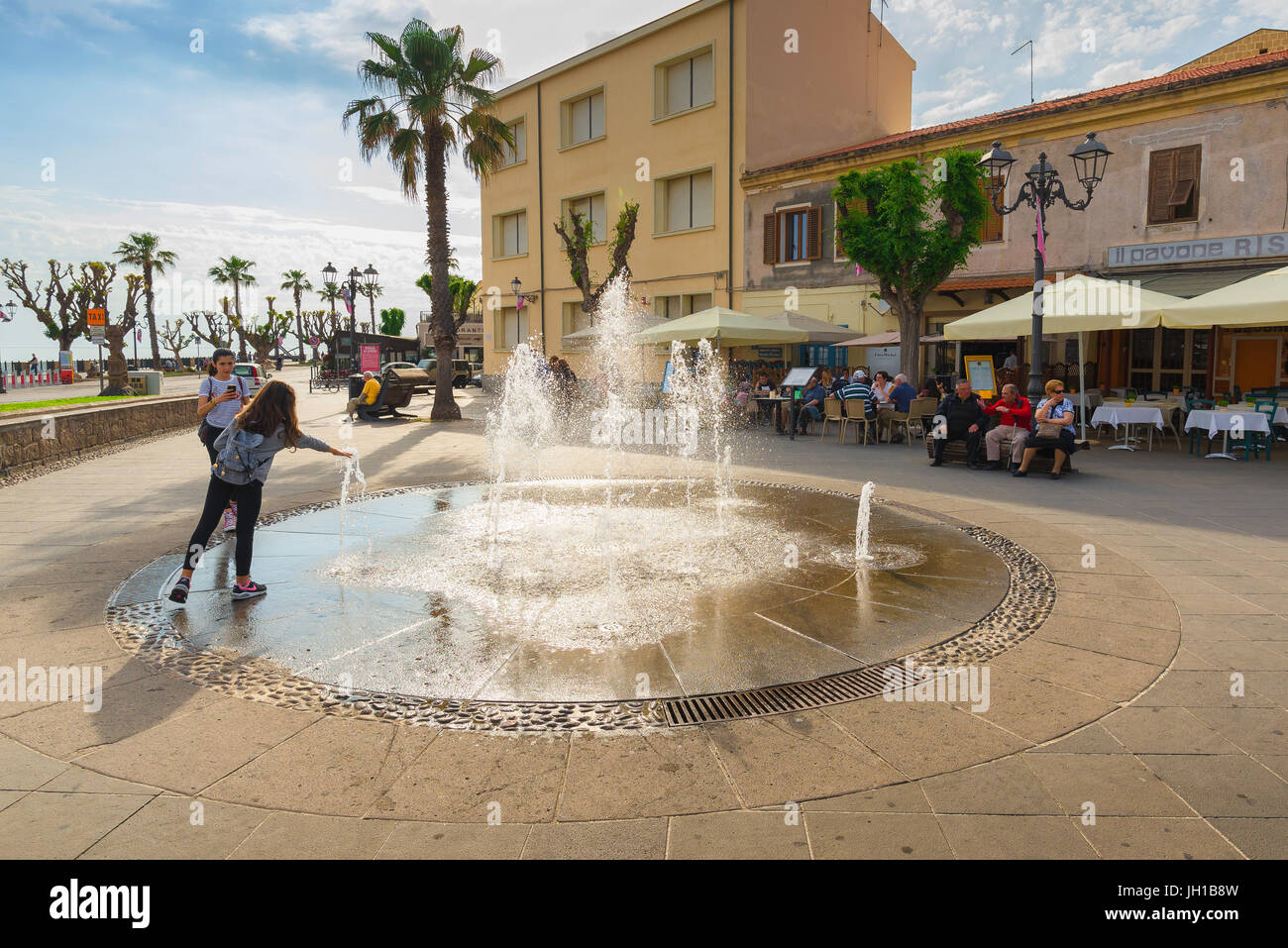 Alghero Sardinia, the Piazza Sulis lies between the historical old town quarter and the seafront in Alghero, Sardinia. - Stock Image