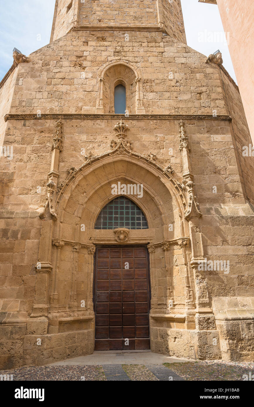 Alghero Sardinia, the medieval portal entrance to the cathedral bell-tower in Alghero, Sardinia. - Stock Image