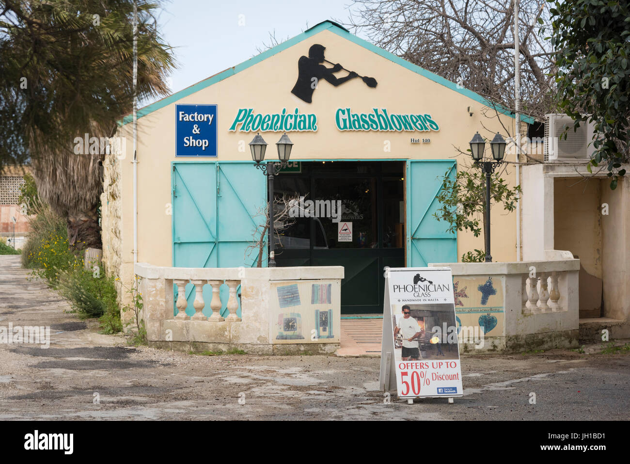 Phoenician Glassblowers craft shops at the artisan village and Ta' Qali Crafts Centre and artisan village Malta - Stock Image